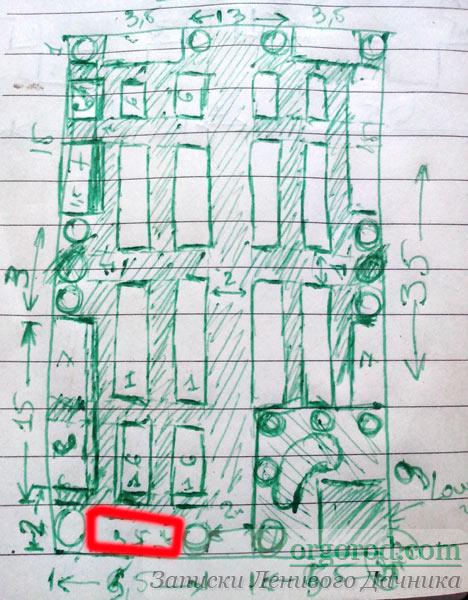 Рисунок огорода в блокноте